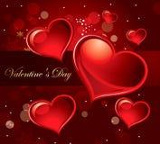 Cartão do feriado com corações Imagens de Stock Royalty Free