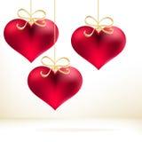 Cartão do feriado com corações tirados mão. + EPS8 Fotos de Stock