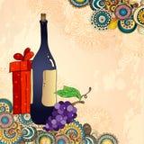 Cartão do feriado com garrafa de vinho, uvas, caixa de presente Imagens de Stock Royalty Free