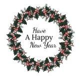 Cartão do feriado com palavras do ano novo feliz ilustração royalty free