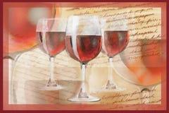 Cartão do feriado com texto e vidros escritos à mão com vinho tinto Imagem de Stock