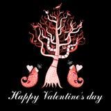 Cartão do feriado com uma árvore e os camaleões do amor Fotos de Stock Royalty Free