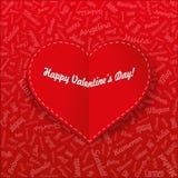 Cartão do feriado Coração dos nomes da mulher famosa com título Rosa vermelha () Fotografia de Stock Royalty Free