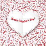 Cartão do feriado Coração dos nomes da mulher famosa com título Rosa vermelha () Imagens de Stock Royalty Free