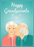 Cartão do feriado Dia das avós Pares casados Avó e avô cartão Felicitações aos pais Imagens de Stock Royalty Free