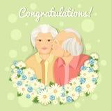 Cartão do feriado Dia das avós Pares casados Avó e avô cartão Felicitações aos pais Foto de Stock