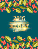Cartão do feriado do visco do Natal com texto Imagem de Stock