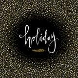 Cartão do feriado Frase da caligrafia com ramo do Natal do brilho do ouro Fundo preto Rotulação moderna Convite do ano novo Usado Imagem de Stock