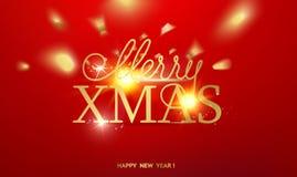 Cartão do feriado Molde do ouro sobre o fundo vermelho com faíscas douradas Ano novo feliz 2019 Raios caídos dos confetes e do so ilustração royalty free