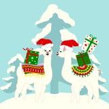 Cartão do feriado do Natal com lamas bonitos ilustração stock