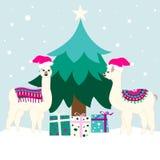 Cartão do feriado do Natal com lamas bonitos ilustração royalty free