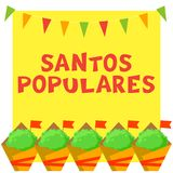 Cartão do festival de Santos Populares Portuguese com plantas do manjerico e festão da estamenha ilustração stock