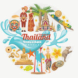 Cartão do festival de Songkran em Tailândia Feriados tailandeses ilustração stock