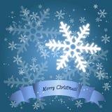 Cartão do floco da neve da época natalícia Fotos de Stock
