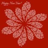 Cartão do floco de neve do ano novo feliz Imagem de Stock