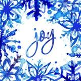 Cartão do floco de neve da aquarela ilustração stock