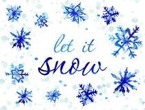 Cartão do floco de neve da aquarela ilustração do vetor