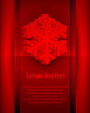 Cartão do floco de neve no vermelho Fotografia de Stock