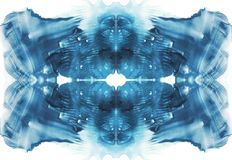 Cartão do fundo simétrico da abstração do teste da mancha de tinta do rorschach Imagem azul da aquarela foto de stock