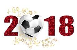 Cartão 2018 do futebol do branco com coração ilustração do vetor