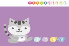 Cartão do gato ilustração do vetor