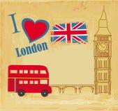 Cartão do Grunge com ícones de Londres Fotografia de Stock Royalty Free