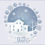 Cartão do inverno com a moradia grande perto do vetor da árvore ilustração royalty free