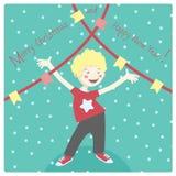 Cartão do inverno com o rapaz pequeno alegre que tem o divertimento ilustração do vetor