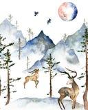 Cartão do inverno da aquarela ilustração do vetor