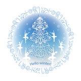 Cartão do inverno do vintage Fotografia de Stock Royalty Free