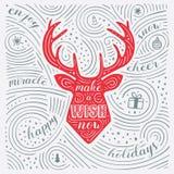 Cartão do inverno A rotulação - faça um desejo agora Projeto do ano novo/Natal Teste padrão escrito à mão do redemoinho ilustração royalty free