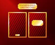 Cartão do luxo do couro e do ouro Fotografia de Stock