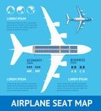 Cartão do mapa de Seat do plano do avião Vetor ilustração do vetor