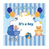 Cartão do menino da festa do bebê com um urso, um carrinho de criança, um brinquedo e os balões Ilustração do vetor ilustração royalty free