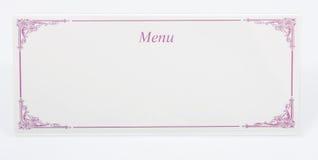 Cartão do menu Fotos de Stock