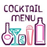 Cartão do menu do cocktail Fotografia de Stock