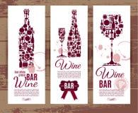 Cartão do menu da barra de vinho Foto de Stock