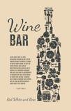 Cartão do menu do vinho Foto de Stock Royalty Free