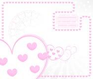 Cartão do miúdo do vetor com corações Imagem de Stock Royalty Free