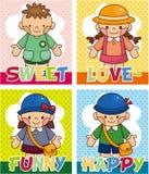 Cartão do miúdo dos desenhos animados Fotografia de Stock Royalty Free
