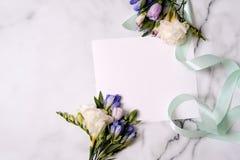 Cartão do modelo com plantas cartão e flores Imagens de Stock
