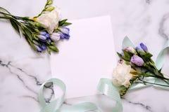 Cartão do modelo com plantas cartão e flores Foto de Stock Royalty Free