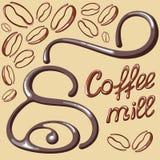 Cartão do moinho de café com feijões de café Fotografia de Stock