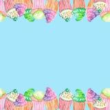 Cartão do molde com os queques na parte superior e na borda inferior Imagens de Stock