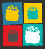 Cartão do molde do Natal moderno Saco vermelho de Santa Claus dentro Imagem de Stock Royalty Free