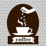 Cartão do molde do projeto da arte do café Fotografia de Stock Royalty Free