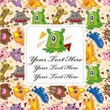Cartão do monstro dos desenhos animados Imagem de Stock