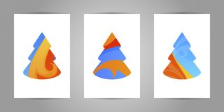 Cartão do Natal com a árvore abstrata minimalistic do ano novo com textura abstrata ondulada colorida no fundo branco Foto de Stock Royalty Free