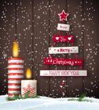 Cartão do Natal com árvore e velas abstratas ilustração do vetor
