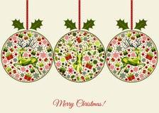 Cartão do Natal com as bolas modeladas do Xmas Imagens de Stock